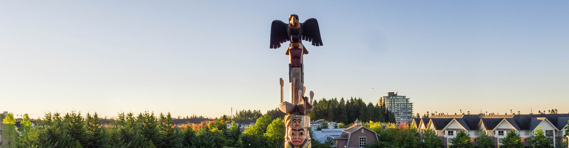 Photo of the top of Reconciliation Pole on UBC Vancouver campus.