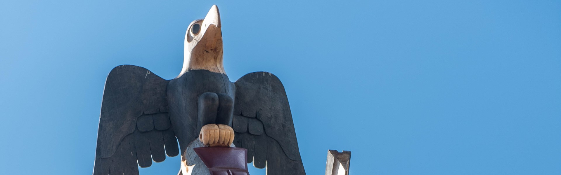 Close-up of the eagle on top of Reconciliation Pole, located on UBC Vancouver campus