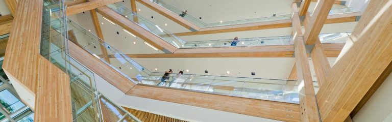 Photo of the inside of the Centre for Interactive Research on Sustainability building on the UBC Vancouver campus