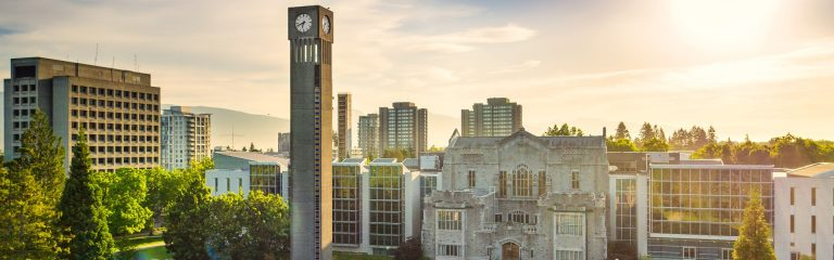 Photo of the Irving K. Barber building and UBC clock tower on the UBC Vancouver campus